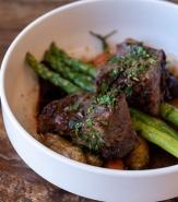 Braised Beef Short Rib, Burgundy Wine Sauce, Roasted Potato, Spring Vegetables
