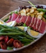 Rare Yellowfin Tuna Salad, Boiled Egg, French Beans, Heirloom Tomato, Fingerling Potato, Nicoise Olive, House-Made Vinaigrette