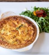 Brasserie Quiche, Smokehouse Bacon, Gruyere, Asparagus, Peas, Arugula and Petite Heirloom Tomato Salad