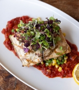 Grilled Barramundi, Sweet Peas, Corn, Roasted Red Pepper-Tomato Ragout