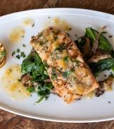 Charred Organic Salmon, Warm Lemon Vinaigrette, Wild Mushrooms and Spinach