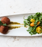 Goat Cheese Croquettes, House Vinaigrette, Fried Parsley