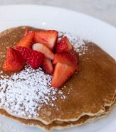 Farmhouse Pancakes - Powdered Sugar, Strawberry, Maple Syrup, Butter