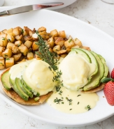 Avocado Benedict - Hass Avocado, Two Poached Eggs, English Muffin, Hollandaise Sauce