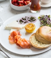 Meshuggah Bagel + Lox - Meshuggah Bagel, Cream Cheese, Capers, Red Onions, Micro Greens
